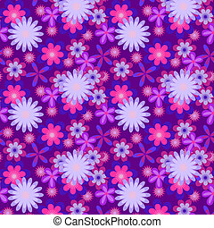 Simply seamless blue flowers on violet background
