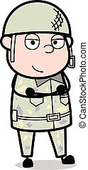 Simply Standing and Smiling - Cute Army Man Cartoon Soldier Vector Illustration