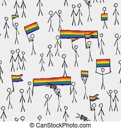 simply stylized massive LGBT demonstration sample pattern...