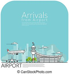 simply vector illustration of airplane landing for arrival ...