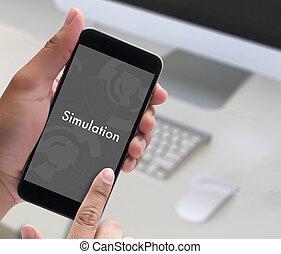 simulação, homem, trabalho, projeto teia, conceito negócio