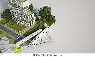 simulado, sostenible, edificio up