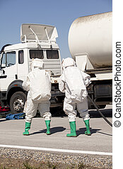 chemical spill after road accident