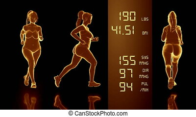 Simulation of a Fat Woman Losing Body Weight and BMI Index...