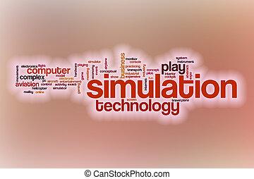 simulation, wort, wolke, mit, abstrakt, hintergrund