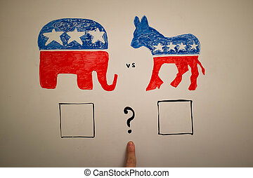 simultâneo, política, concept., democratas, vs, republicanos, elections.