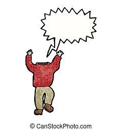 sin cabeza, caricatura, hombre