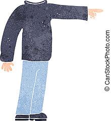 sin cabeza, caricatura, señalar, hombre