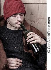 sin hogar, adicto, a, alcohol