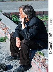 sin hogar, anciano, mendigo
