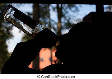 sin hogar, hombre, bebida, alcohol