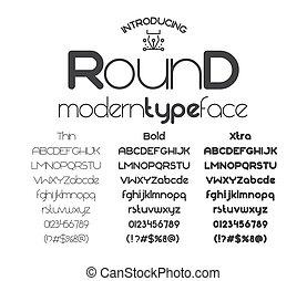 sin, moderno, serif, minimalistic, fuente, redondo
