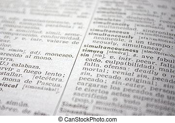 \'sin\', słowo, w, english-spanish, słownik