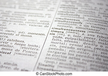 'sin' word in English-Spanish dictionary - shallow depth of field