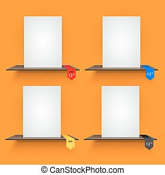sinaasappel, achtergrond., boek, lables, planken