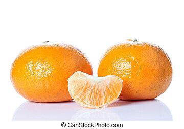 sinaasappel, achtergrond., witte , fruit, vrijstaand