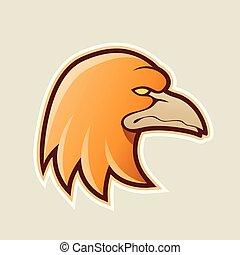 sinaasappel, adelaar, hoofd, spotprent, pictogram, vector, illustratie