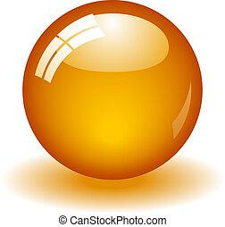 sinaasappel, bal, glanzend
