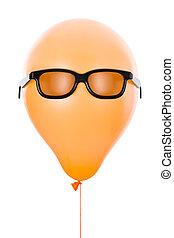 sinaasappel, balloon, met, zonnebrillen, vrijstaand, op wit