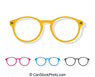 sinaasappel, beeld, vector, bril