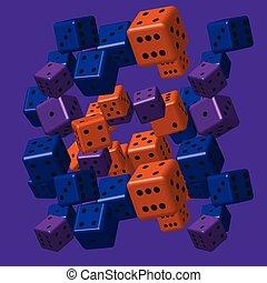 sinaasappel, blauwe , paarse , dobbelsteen, model