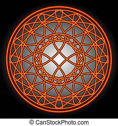 sinaasappel, cirkels, swirls, &