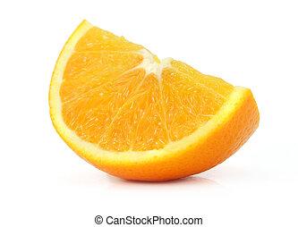 sinaasappel, deel, fruit, vrijstaand, witte