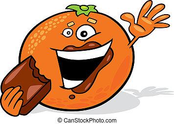 sinaasappel, eten, spotprent, chocolade
