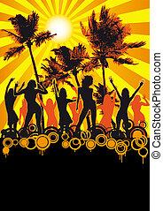 sinaasappel, feestje, retro, streng