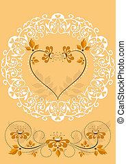 sinaasappel, frame, bloemen, openwork