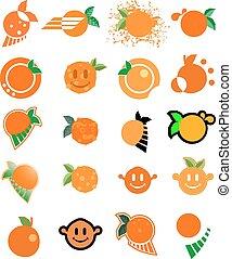 sinaasappel, fruit, verzameling