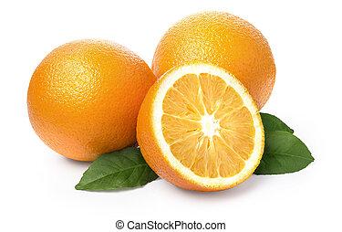 sinaasappel, fruit, vrijstaand