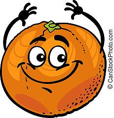 sinaasappel, gekke , fruit, spotprent, illustratie