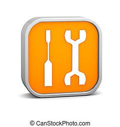 sinaasappel, gereedschap, meldingsbord