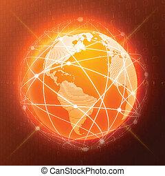 sinaasappel, globe, concept, netwerk