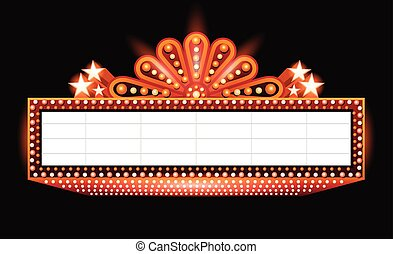 sinaasappel, gloeiend, bioscoop, helder, meldingsbord, theater, retro, neon