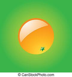 sinaasappel, groene achtergrond