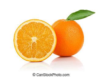 sinaasappel, groene, helft, blad, een