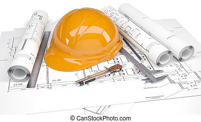 sinaasappel, helm, werkjes, architecturaal