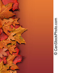 sinaasappel, herfst, achtergrond, grens, met, copyspace