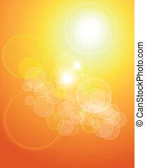 sinaasappel, lichten, abstract, achtergrond