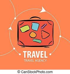 sinaasappel, logo, reizen, vector, koffer