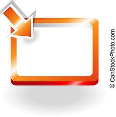 sinaasappel, meldingsbord, met, het richten van pijl