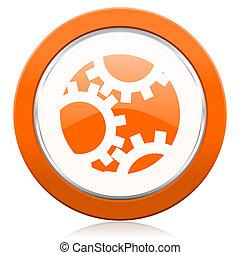 sinaasappel, meldingsbord, tandwiel, pictogram, instellingen