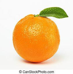 sinaasappel, met, blad