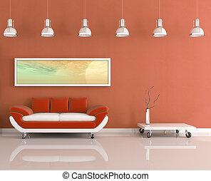 sinaasappel, modern leven, kamer, witte