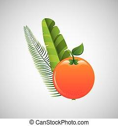 sinaasappel, ontwerp, palm, fruit, blad