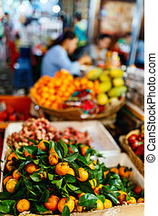 sinaasappel, op, markt, te koop