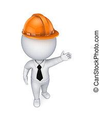 sinaasappel, persoon, kleine, helmet., 3d