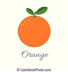 sinaasappel, pictogram, met, titel